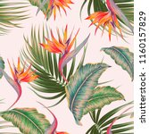 tropical floral vector seamless ... | Shutterstock .eps vector #1160157829