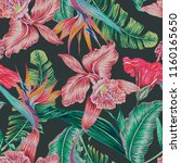 floral tropical vector seamless ... | Shutterstock .eps vector #1160165650