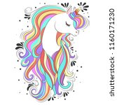 cute white unicorn with rainbow ... | Shutterstock .eps vector #1160171230