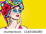 Stock photo pop art woman with wow face in glasses holding hand near her cheeks advertising poster of sale or 1160186380
