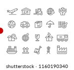 industry and logistics icons    ... | Shutterstock .eps vector #1160190340