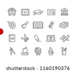 education icons    red point... | Shutterstock .eps vector #1160190376