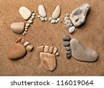 Trace Feet Of A Pebble Stone O...
