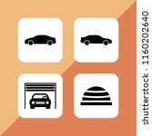 road icon. 4 road set with car  ... | Shutterstock .eps vector #1160202640