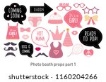 baby shower photo booth props.... | Shutterstock .eps vector #1160204266