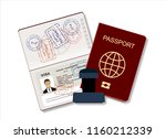 passport with biometric data.... | Shutterstock .eps vector #1160212339