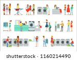 people at the laundry  dry... | Shutterstock .eps vector #1160214490