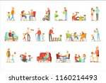 grandfather and grandmother... | Shutterstock .eps vector #1160214493