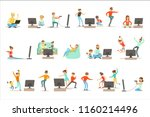 people playing video games with ... | Shutterstock .eps vector #1160214496