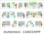 smiling people in pharmacy...   Shutterstock .eps vector #1160214499