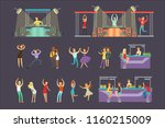 young smiling people dancing in ... | Shutterstock .eps vector #1160215009