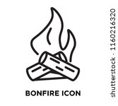 bonfire icon vector isolated on ... | Shutterstock .eps vector #1160216320