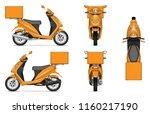 delivery scooter vector mockup... | Shutterstock .eps vector #1160217190