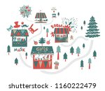 christmas market  fair  winter... | Shutterstock .eps vector #1160222479
