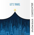 world famous monuments. travel... | Shutterstock .eps vector #1160224789