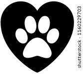 black and white paw print heart ...   Shutterstock .eps vector #1160229703