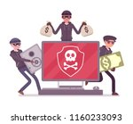 electronic theft danger. masked ... | Shutterstock .eps vector #1160233093
