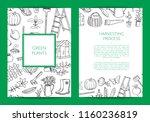vector gardening doodle icons... | Shutterstock .eps vector #1160236819