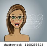 face recognition. technological ... | Shutterstock .eps vector #1160259823