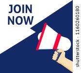join now announcement. hand... | Shutterstock .eps vector #1160260180