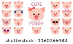 cute piggy character in the... | Shutterstock .eps vector #1160266483
