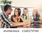 wonderful day. group of smiling ... | Shutterstock . vector #1160274760