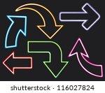 neon arrows icons set  | Shutterstock .eps vector #116027824