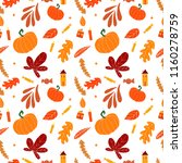 seamless autumn pattern.... | Shutterstock .eps vector #1160278759