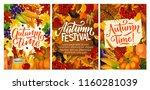 autumn harvest festival posters ... | Shutterstock .eps vector #1160281039
