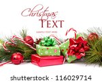 christmas presents and pine... | Shutterstock . vector #116029714