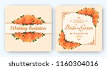 wedding invitation with flowers ... | Shutterstock .eps vector #1160304016