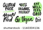 Gluten free, 100 % organic product, eat well feel good, vegan. Sticker for social media. Vector hand drawn illustration design. Bubble pop art comic style poster, t shirt print, post card, video blog