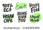 100   eco  eat  veggie menu ... | Shutterstock .eps vector #1160305390
