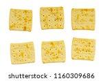 six roasted biscuits of uneven... | Shutterstock . vector #1160309686