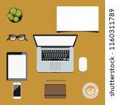 modern workspace background... | Shutterstock .eps vector #1160311789