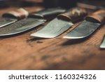 hand made damascus steel knives   Shutterstock . vector #1160324326