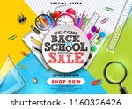 back to school sale design with ... | Shutterstock .eps vector #1160326426