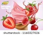 strawberry and cherry fruits... | Shutterstock .eps vector #1160327026