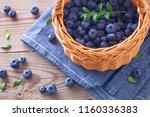 lots of fresh blueberries  ... | Shutterstock . vector #1160336383