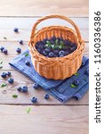lots of fresh blueberries  ... | Shutterstock . vector #1160336386