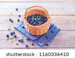lots of fresh blueberries  ... | Shutterstock . vector #1160336410