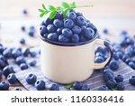 lots of fresh blueberries  ... | Shutterstock . vector #1160336416