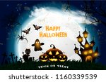 halloween hand drawn invitation ... | Shutterstock .eps vector #1160339539