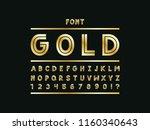 gold font. vector alphabet... | Shutterstock .eps vector #1160340643