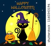 a halloween cat in a witch hat... | Shutterstock .eps vector #1160343196