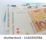 croatian money and  euros | Shutterstock . vector #1160343586