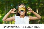 little african american girl... | Shutterstock . vector #1160344033