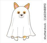 welsh corgi dog dressed up as a ... | Shutterstock .eps vector #1160348893