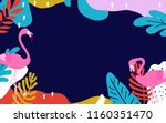 tropical jungle leaves... | Shutterstock .eps vector #1160351470