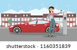 woman is standing next the... | Shutterstock .eps vector #1160351839